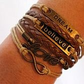 Armband Dream, believe, love en infinity