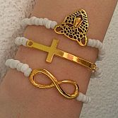 Beaded Gold White