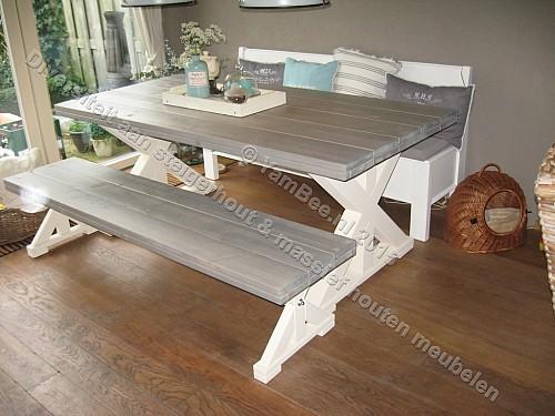Eettafel met zitbank van steigerhout amanda for Zitbank steigerhout